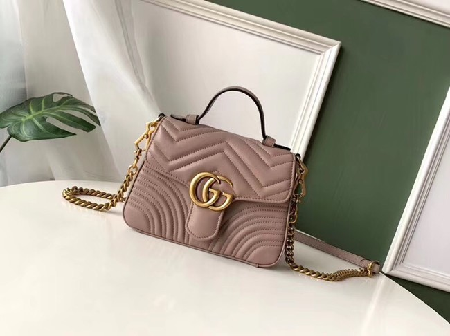 Gucci GG Marmont mini top handle bag 547260 Dusty pink