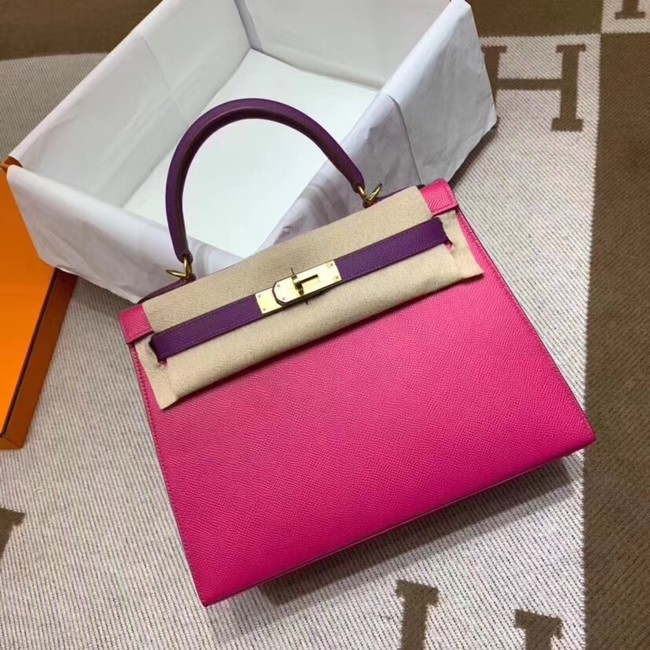 Hermes Kelly 28cm Shoulder Bags Epsom Leather KL28 Plum red&purple