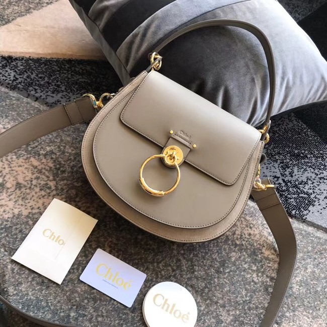 CHLOE Tess leather and suede cross-body bag 3S152 grey