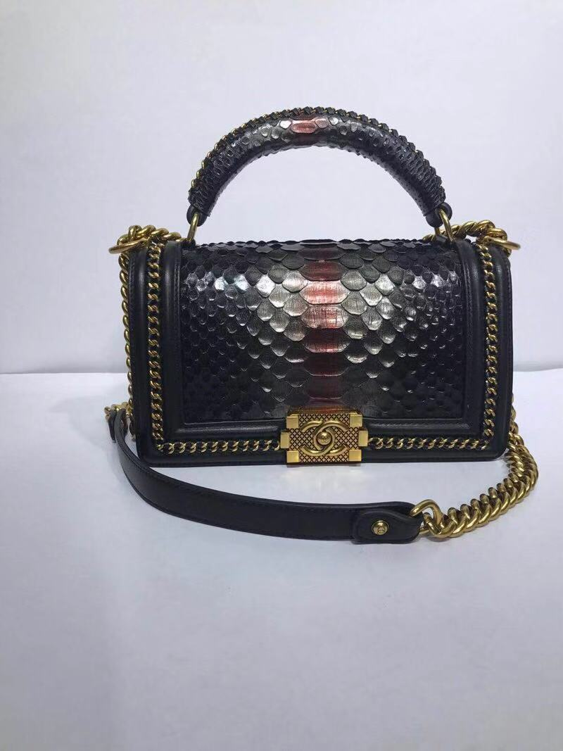 BOY CHANEL Flap Bag with Handle Python & Ruthenium-Finish Metal A94804 black