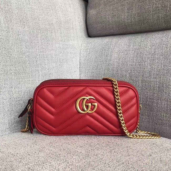 Gucci GG Marmont mini chain bag 546581 red