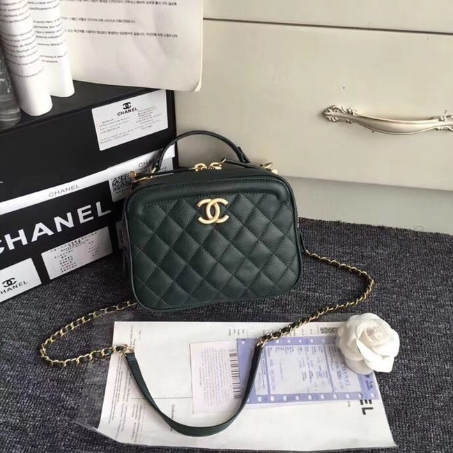 Chanel Flap Bag vanity case Calfskin & Gold-Tone Metal A57905 Blackish green