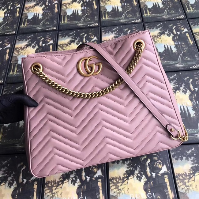 Gucci GG Marmont medium matelasse shoulder bag 453569 pink