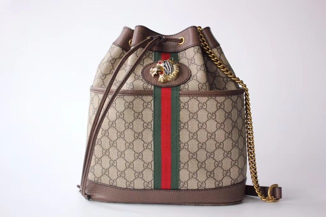 Gucci GG Supreme canvas Rajah medium bucket bag 553961 Brown