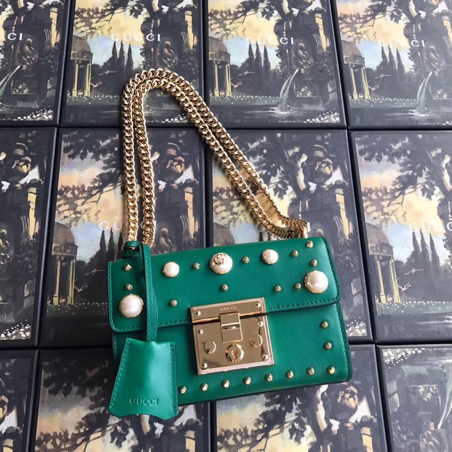 Gucci Padlock small GG Pearl shoulder bag 409487 green