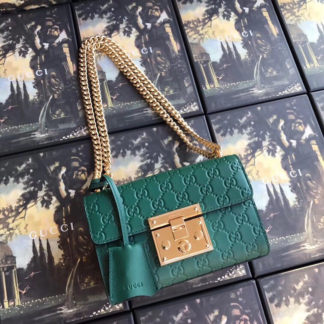 Gucci Padlock small GG shoulder bag 409487 green