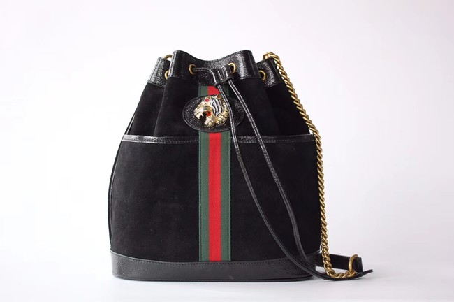 Gucci Rajah medium bucket bag 553961 Black suede