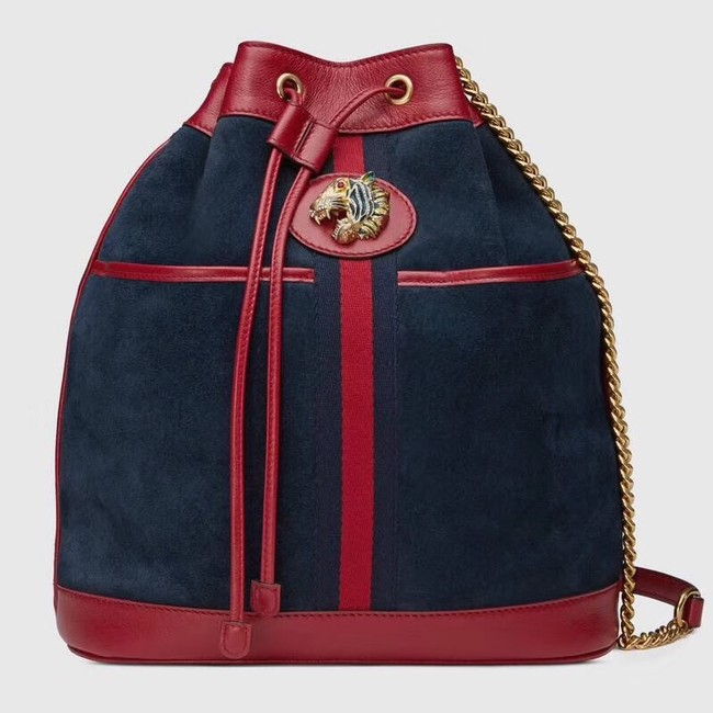 Gucci Rajah medium bucket bag 553961 Blue suede