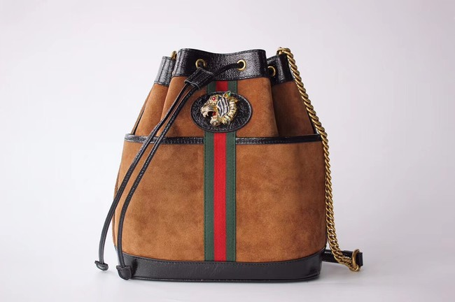 Gucci Rajah medium bucket bag 553961 Brown suede