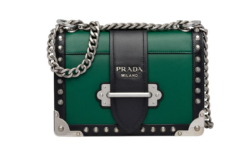 Prada Cahier studded leather bag 1BD045-1 green&black