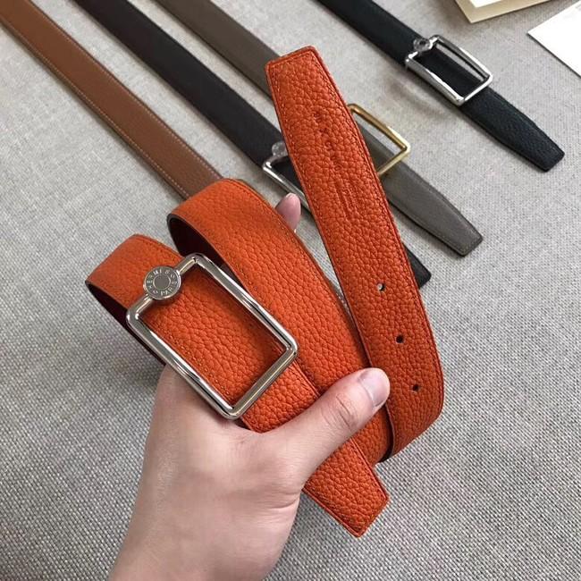 Hermes Quizz belt buckle & Reversible leather strap 32 mm H0739 Orange