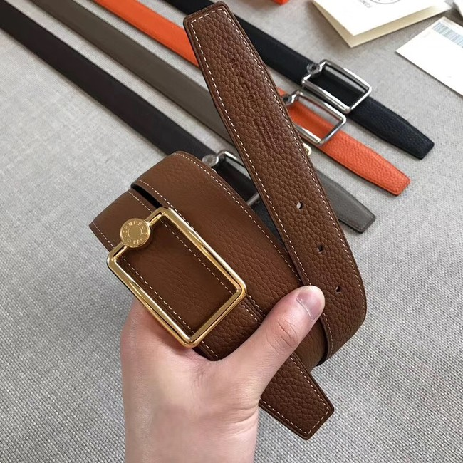 Hermes Quizz belt buckle & Reversible leather strap 32 mm H0739 brown