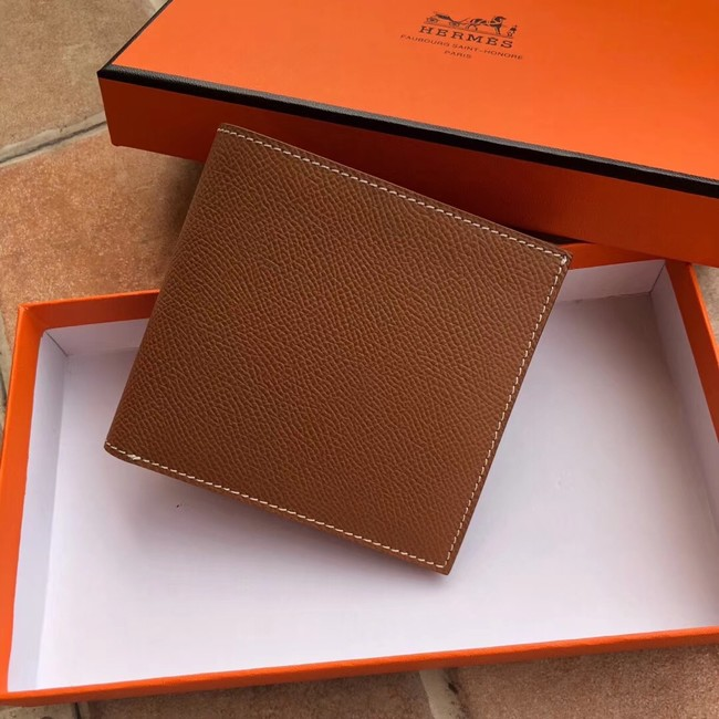 Hermes espom leather Wallet H2296 brown