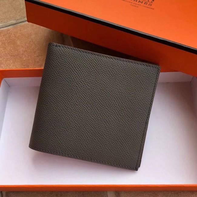 Hermes espom leather Wallet H2296 dark grey