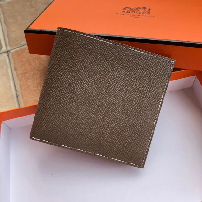 Hermes espom leather Wallet H2296 grey