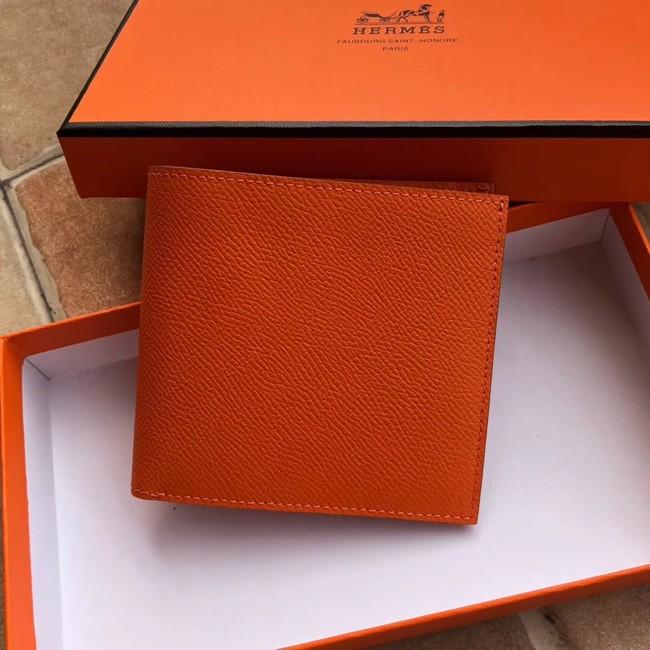 Hermes espom leather Wallet H2296 orange