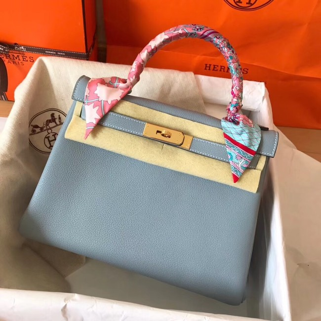 Hermes original Togo leather kelly bag KL320 light blue