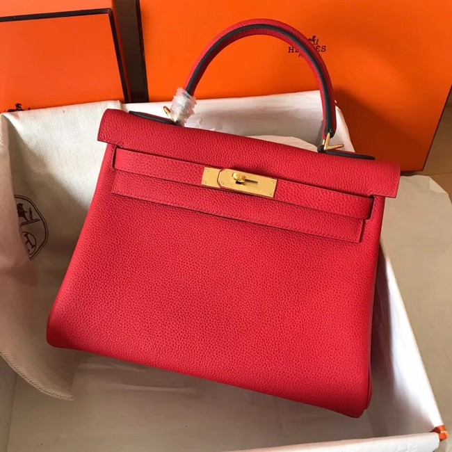 Hermes original Togo leather kelly bag KL320 red
