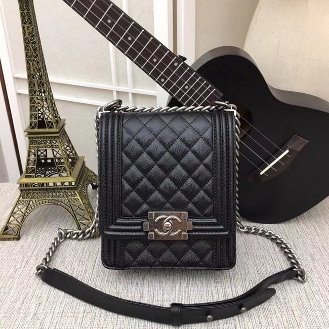 boy chanel handbag Patent Calfskin & silver-Tone Metal AS0130 black
