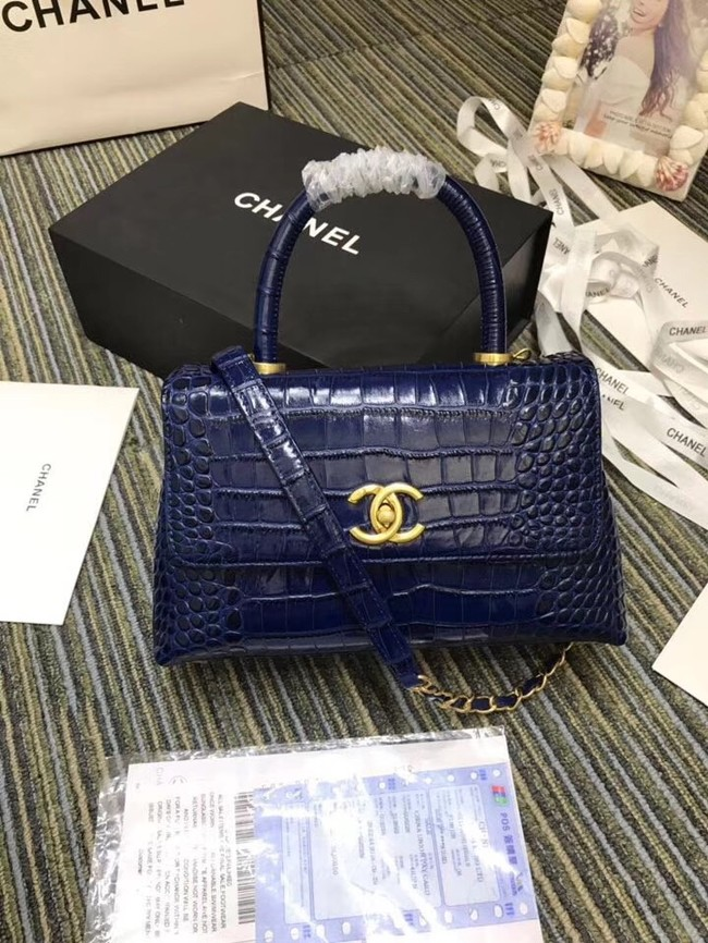 Chanel flap bag with top handle A93737 blue