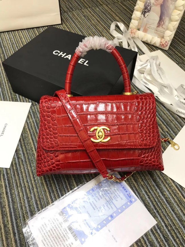 Chanel flap bag with top handle A93737 red