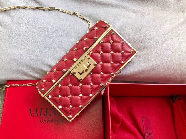 VALENTINO Rockstud quilted leather cross-body bag 0702 red