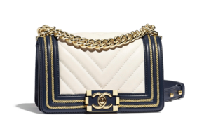 Chanel Leboy Original Calfskin leather Shoulder Bag F67085 white & Gold-Tone Metal