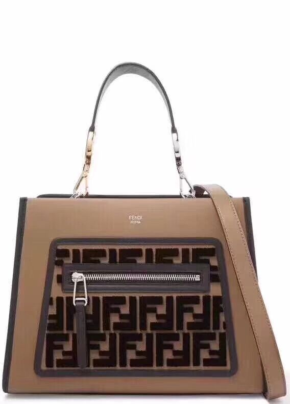 Fendi KAN I F Brown leather bag 8DH844 brown