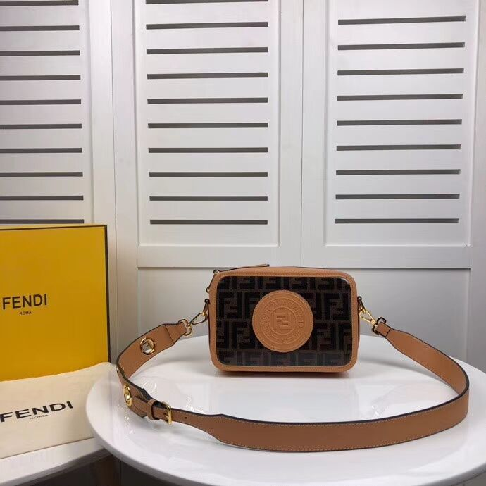 Fendi MINI CAMERA CASE Multicolor canvas bag 8BF097 apricot