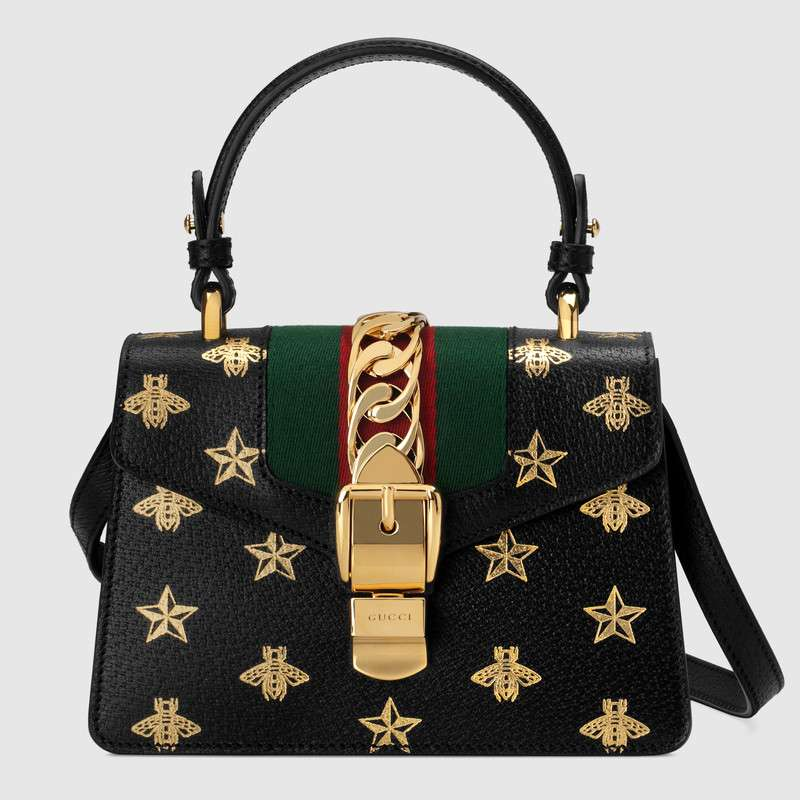 Gucci Sylvie Bee Star mini leather bag 470270 black