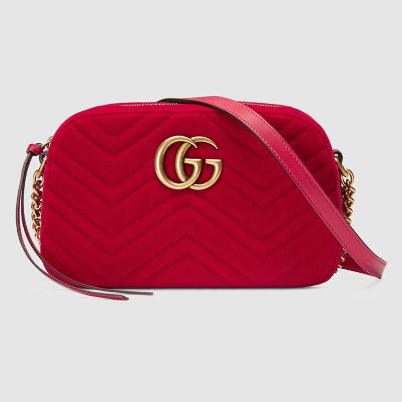 Gucci GG Marmont velvet small shoulder bag 447632 red