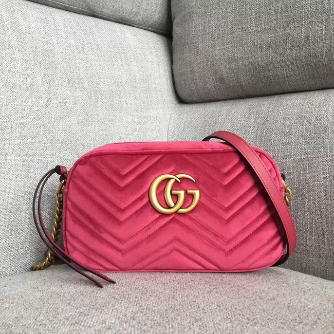 Gucci GG Marmont velvet small shoulder bag 447632 rose