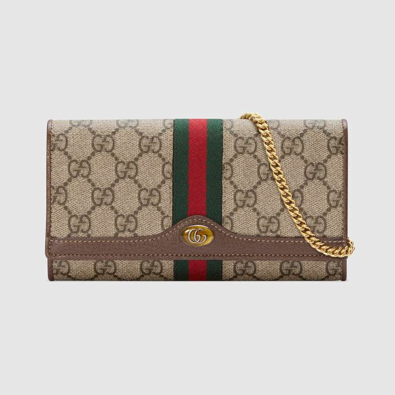 Gucci Ophidia GG chain wallet 546592 Brown