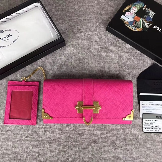 Prada Cahier Saffiano Leather Wallet Large 1MH132 rose