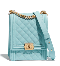 Boy chanel handbag Grained Calfskin & Gold-Tone Metal AS0130 Light Blue