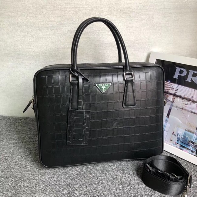 Prada Crocodile Leather Briefcase 2VE368 black