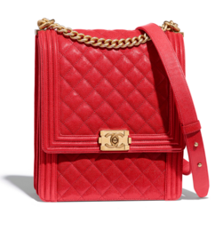 Boy chanel handbag Grained Calfskin & Gold-Tone Metal AS0130 red