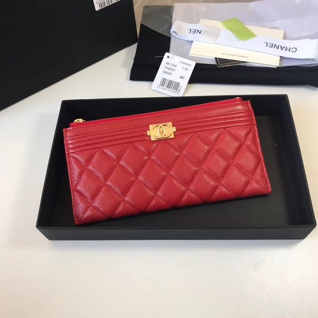 Chanel boy chanel pouch Calfskin & Gold-Tone Metal A81254 red