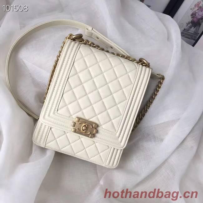 Chanel boy handbag Patent Calfskin & Gold-Tone Metal AS1030 creamy-white