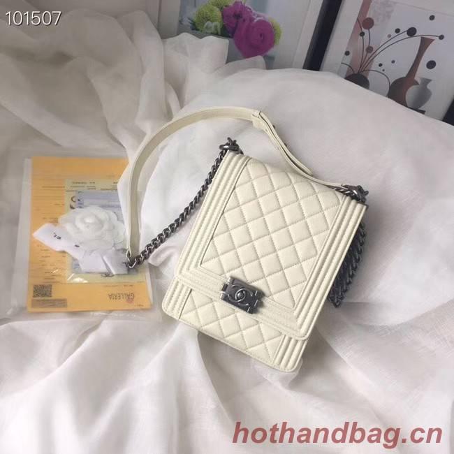 Chanel boy handbag Patent Calfskin & Silver-Tone Metal AS1030 creamy-white