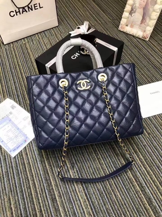 Chanel large shopping bag Aged Calfskin & Gold-Tone Metal A57974 blue