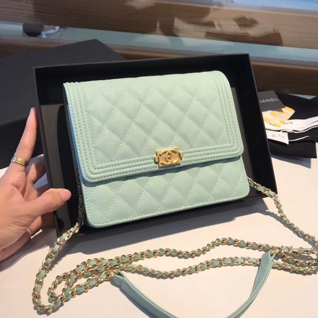 Boy chanel clutch with chain A84433 light green