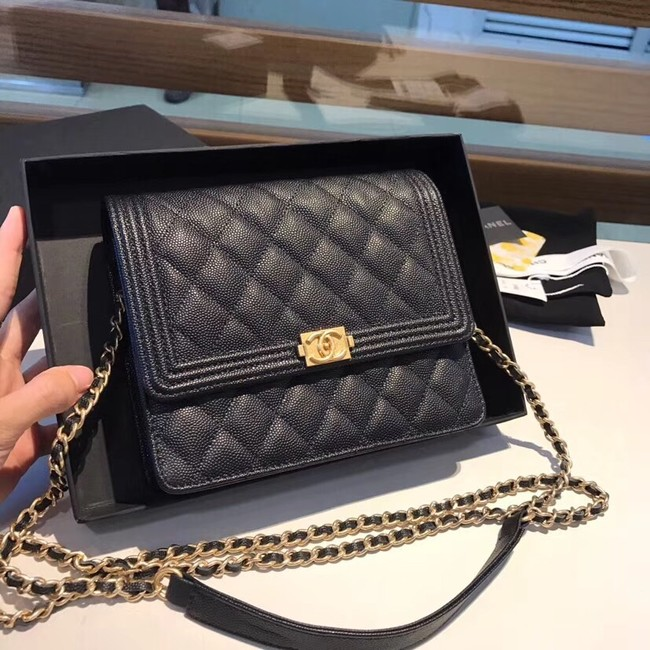 Boy chanel clutch with chain A84433 black