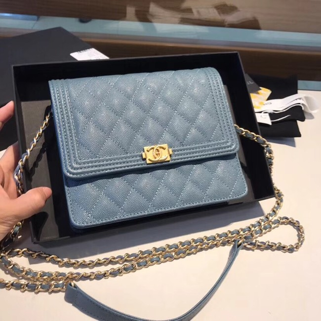 Boy chanel clutch with chain A84433 blue