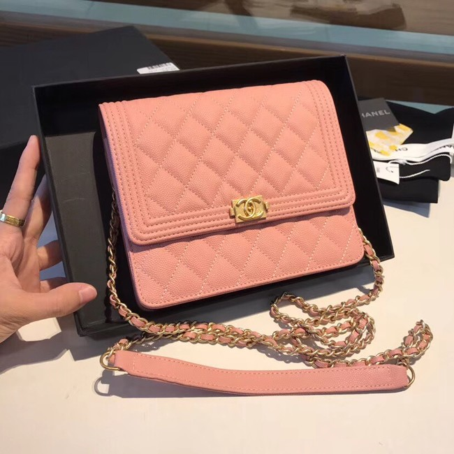 Boy chanel clutch with chain A84433 pink