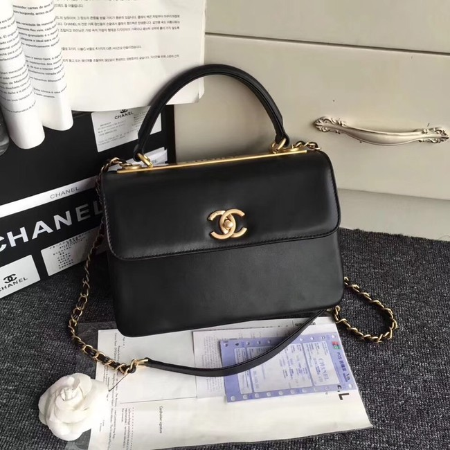 Chanel Original small flap bag with top handle A92236 black