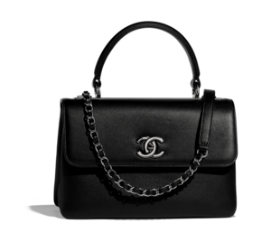 Chanel Original small flap bag with top handle A92236 black Calfskin & Ruthenium-Finish Metal