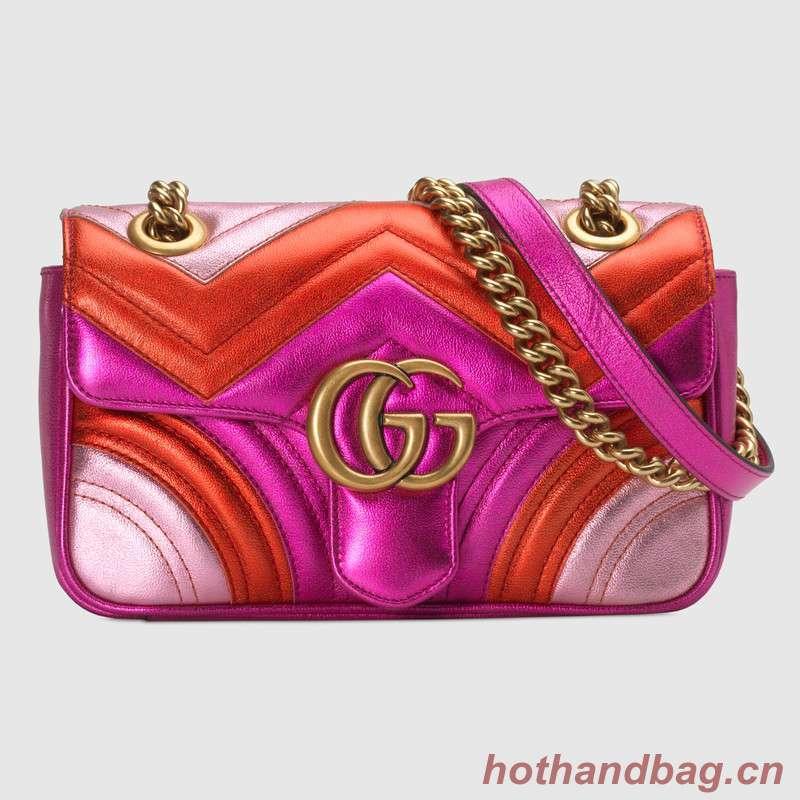 Gucci GG Marmont matelasse Mini Bag 446744 Pink&Red&Purple
