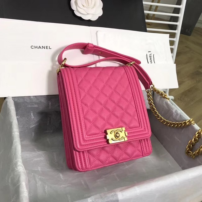 Boy chanel handbag Grained Calfskin & Gold-Tone Metal AS0130 rose