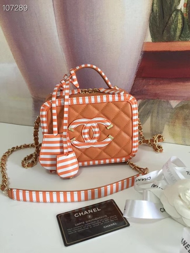 Chanel vanity case Grained Calfskin & gold-Tone Metal A93343 apricot